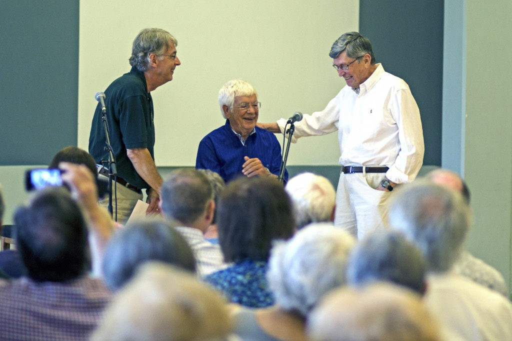 I love this photo of OBF artistic director Helmuth (center) and director emeritus Royce (right) from a Q&A with Fred Crafts (Eugene Ambassador of the Arts, left). Royce was called up to give his thoughts on Helmuth's time as artistic director, and both men grinned at each other, sharing their friendship with the audience, as he walked up.